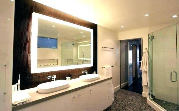 Square Vanity Mirror with Lights on Brown Accent Wall - Harppost.com
