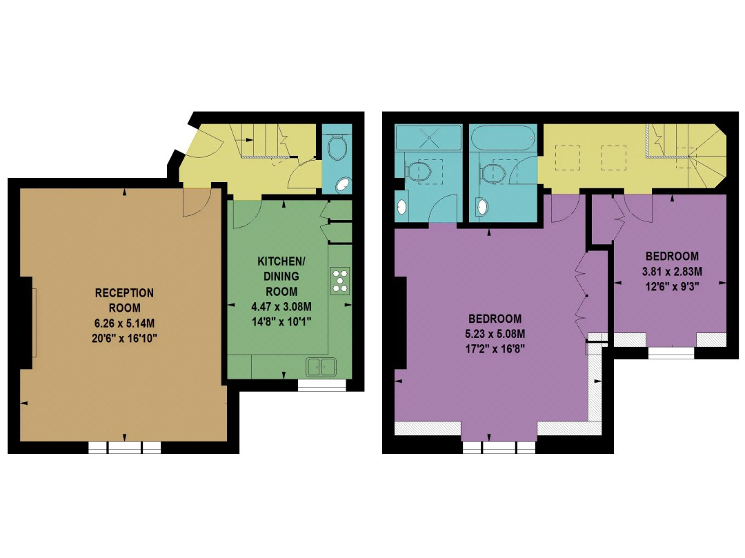Floor Plans by Harpr Surveyors - This is an example of our coloured floor plans