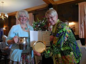 Becky Gallery accepting the National Garden Club's May Duff Walters Preservation of Beauty Award, the GCFM's Longfellow Pitcher for Historic Preservation and other awards at the 2015 GCFM Convention from Kathleen Marty