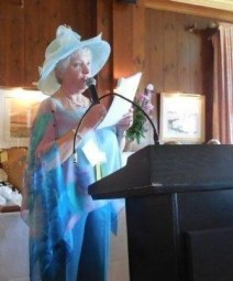Suzanne Bushnell giving her remarks after her installation as the new President of the Garden Club Federation of Maine.