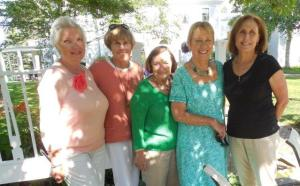 Suzanne Bushnell, Linda Clement, Lynn Reiner along with friends from the Bath Garden Club, Judy and Becky enjoy the garden tour.