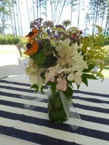 One of the arrangements enjoying its seaside setting at the bride's home.