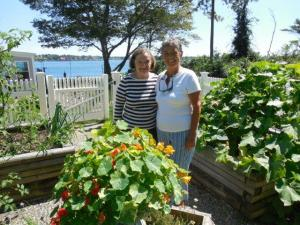 Holly and Lynn in Pat's vegetable garden.