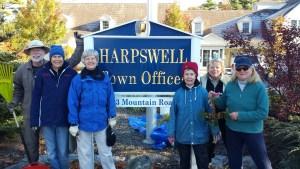 Town Hall Fall Clean-UP, with Ken Dunn, Ann LeBourdais, Susan Flagg, Peggy Shanler, Annette Dunn and Joan WellsL: October 27, 2015