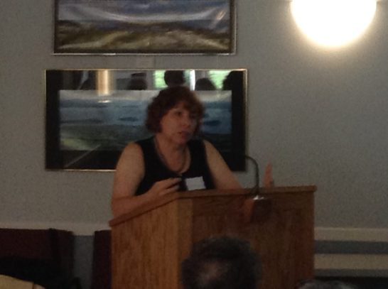 McLaughlin Garden & Homestead Director Donna Anderson addresses the Harpswell Garden Club