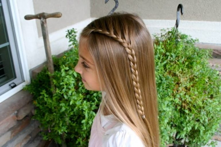 8. Same Side Lace Braid Kids Hairstyles - Harptimes.com