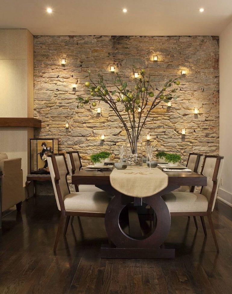Modern Dining Room Wall Decor - Exposed The Stone Wall - Harptimes.com