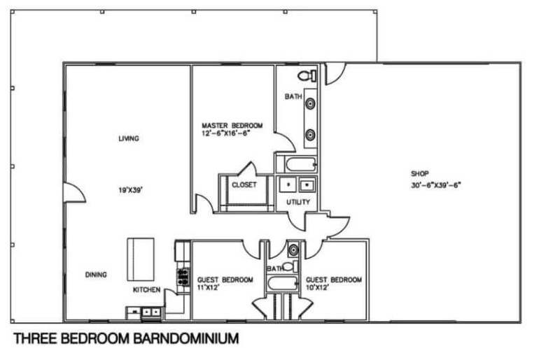 Barndominium Floor Plans - 2. A Barndominium with A Shop
