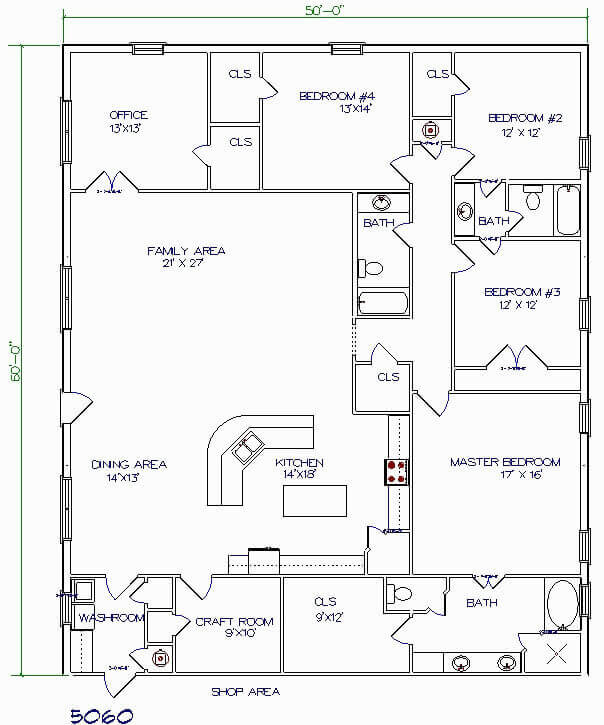 Barndominium Floor Plans - 4. 4 Bedrooms, One Office, One Craft Room