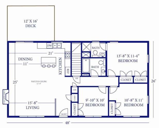 Barndominium Floor Plans - 7. 3 Bedrooms, 2 Bathrooms, One Deck