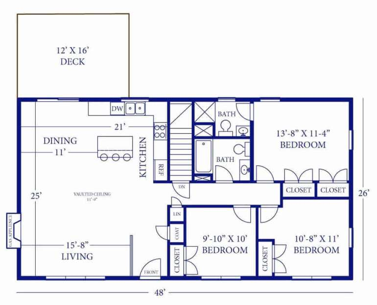 Barndominium Floor Plans - 7. 3 Bedrooms, 2 Bathrooms, One Deck