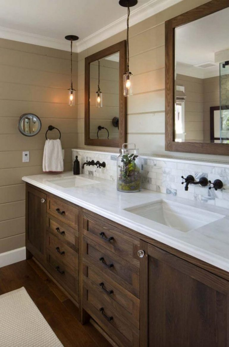 10. Double Vanity in Farmhouse Bathroom Mirror Ideas - Harptimes.com