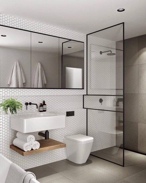 Bathroom Mirror Ideas 11. Bathroom Mirror in Minimalist Luxury Bathroom - Harptimes.com