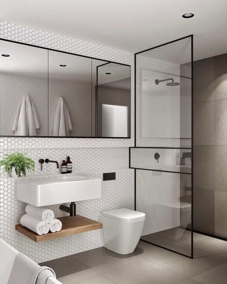 Bathroom Mirror Ideas 11. Bathroom Mirror in Minimalist Luxury Bathroom - Harptimes.com
