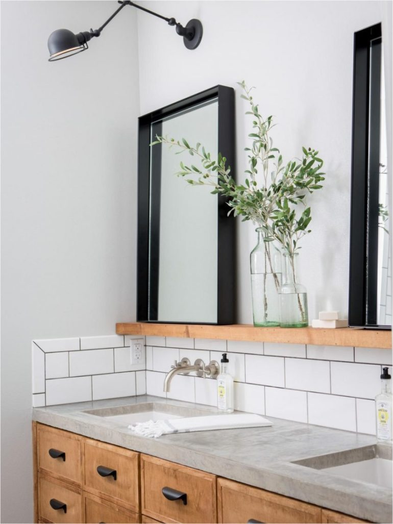 18. Bathroom Mirror Ideas with Protruding Frame - Harptimes.com