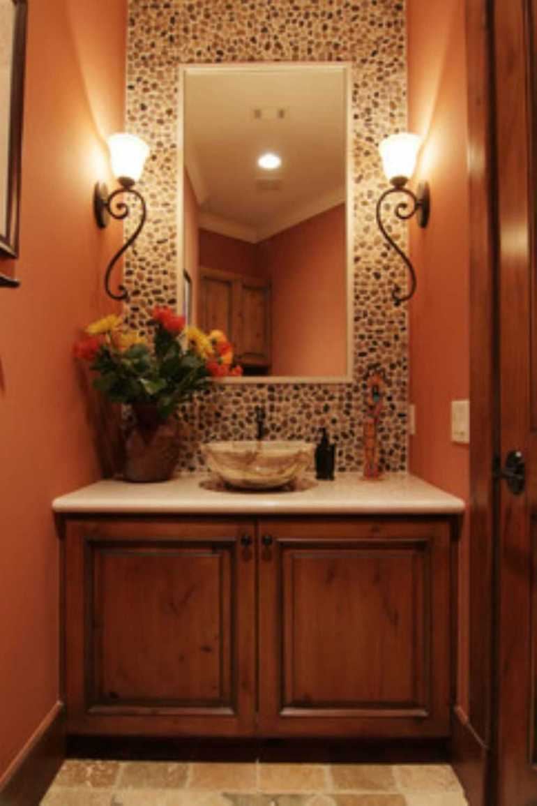 Bathroom Mirror Ideas 3. Small Tuscan Bathroom with Frameless Mirror - Harptimes.com