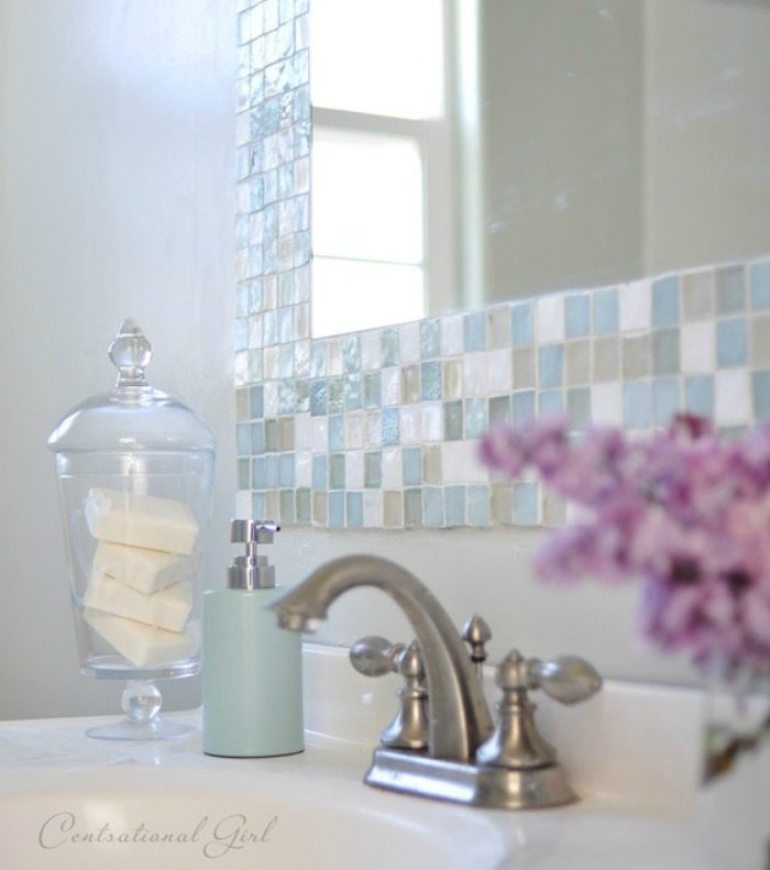 Bathroom Mirror Ideas 5. Soft Mosaic Tile Around Mirror - Harptimes.com