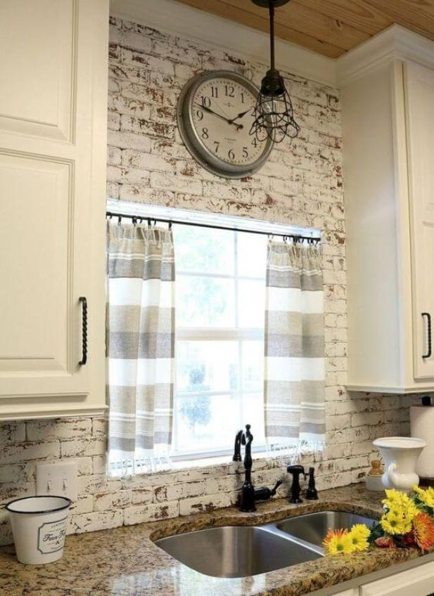 rustic kitchen decor ideas - 10. Farmhouse Kitchen with Brick Wall - Haprtimes.com