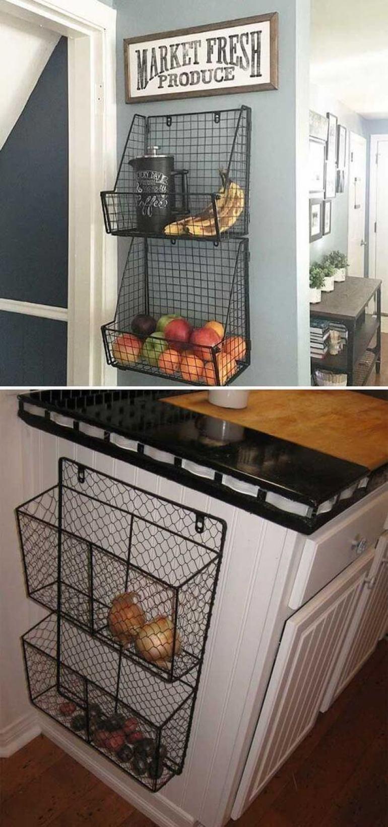 small kitchen decor ideas - 11. Wire Baskets For Kitchen Storage - Harptimes.com