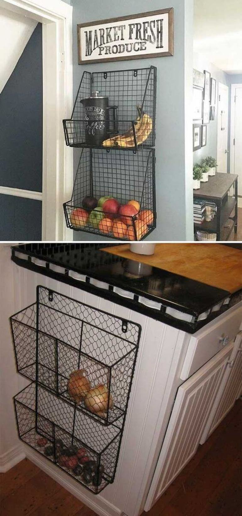 small kitchen decor ideas - 11. Wire Baskets For Kitchen Storage - Harptimes.com
