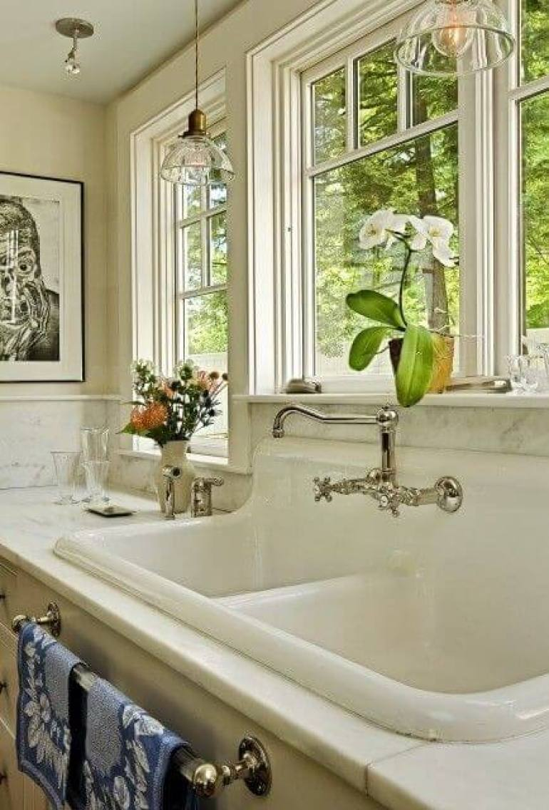 kitchen decor ideas diy - 12. Sink and Faucet in Farmhouse Luxury - Harptimes.com