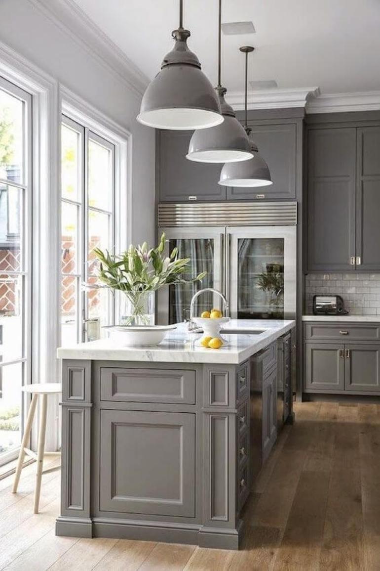 kitchen decor ideas diy - 6. Gray Kitchen Cabinet Decor Ideas - Harptimes.com