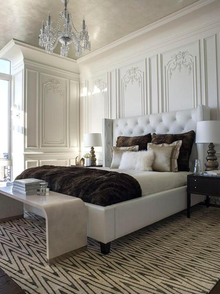 romantic master bedroom ideas - 2. Elegant Master Bedroom with Traditional Wall Panel - Harptimes.com
