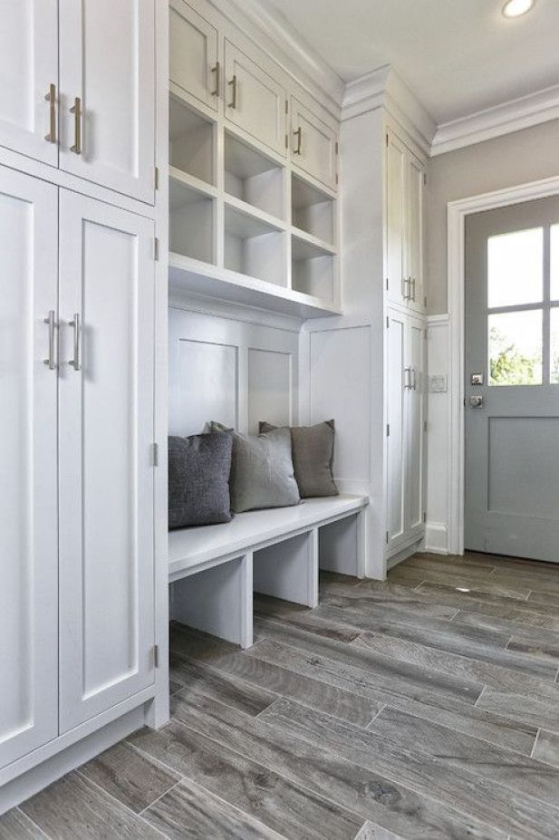 rustic mudroom ideas - 24. Built-In Mudroom with Minimal Decor - Harptimes.com