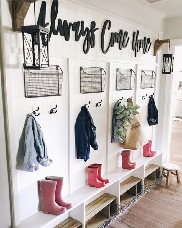 garage mudroom ideas - 3. Decorative Mudroom Storage - Harptimes.com