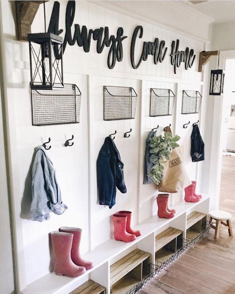 garage mudroom ideas - 3. Decorative Mudroom Storage - Harptimes.com
