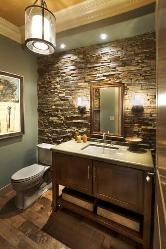 Bathroom Lighting Ideas Light Fixture Stone Wall Bathroom - Harptimes.com