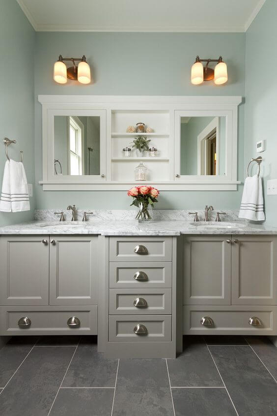 Bathroom Lighting Ideas Mint Green and Gray Bathroom - Harptimes.com