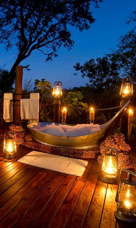 Bathroom Lighting Ideas Outdoor Bathroom with Romantic Lanterns - Harptimes.com