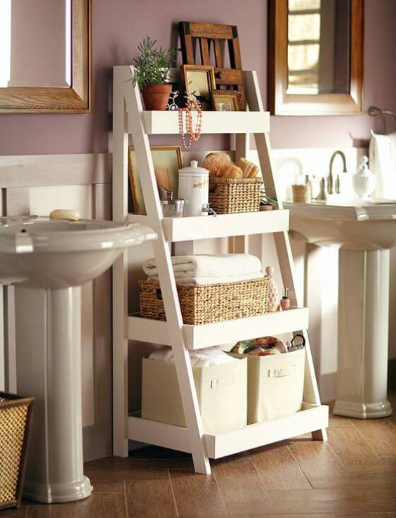 Bathroom Storage Ideas DIY Ladder Bathroom Storage - Harptimes.com