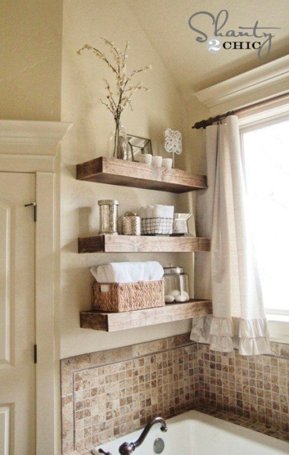 Bathroom Wall Decor Chic Space-Saving Shelves over the Sink - Harptimes.com