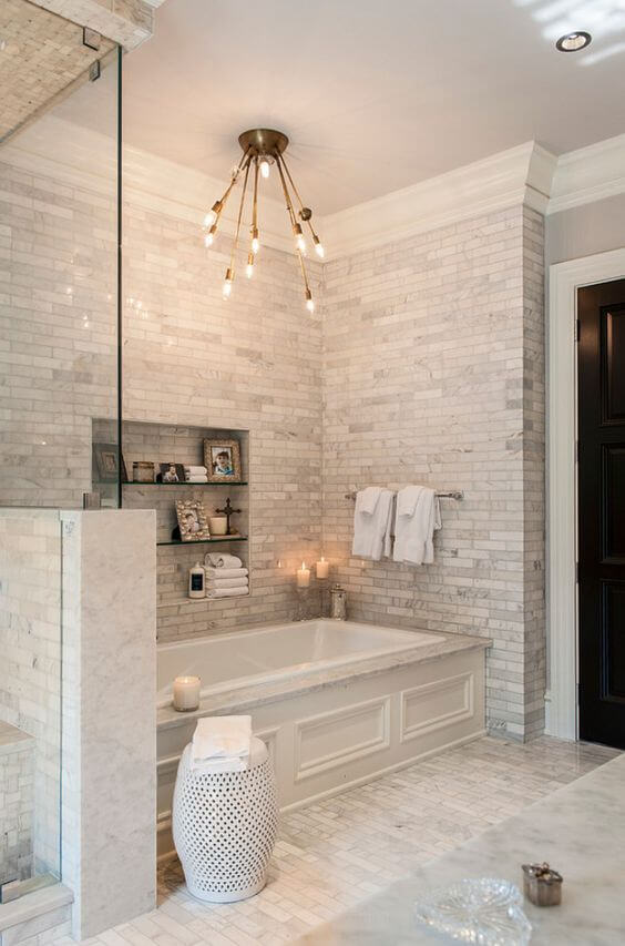 Brick Walls Master Bathroom Design Ideas - Harptimes.com
