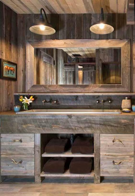 Dark Oak Wood Rustic Bathroom Ideas - Harptimes.com