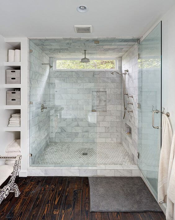 Dark Wood Floor in Master Bathroom Ideas - Harptimes.com