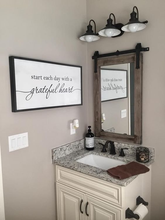 Guest Bathroom Ideas Small Vanity with Simple Wall Decor - Harptimes.com