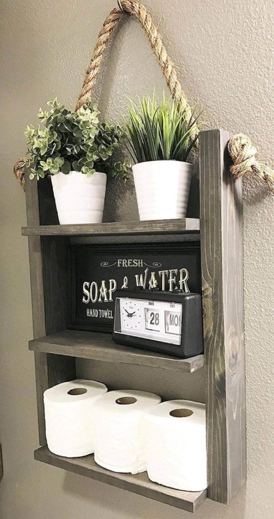 Rustic Bathroom Ideas Little Shelf as Toilet Paper Holder - Harptimes.com