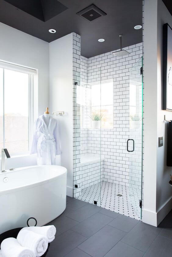 Walk In Shower Tile Ideas Black-White Subway Style - Harptimes.com