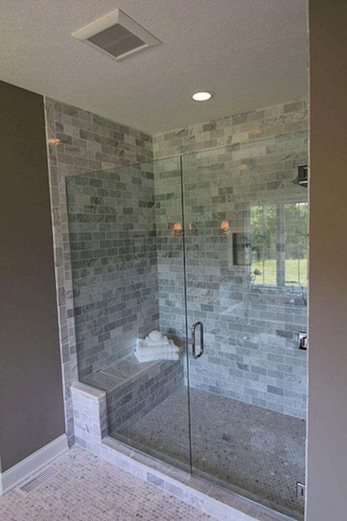Walk In Shower Tile Ideas Frameless Shower Area with Brick-Style Tile - Harptimes.com