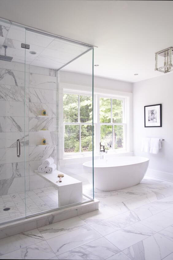 White Marble Master Bathroom Design Ideas - Harptimes.com