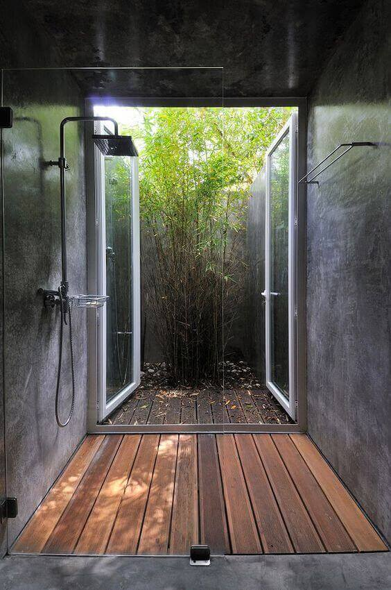 Outdoor Shower Ideas Modern Shower Design with Wood Flooring - Harptimes.com