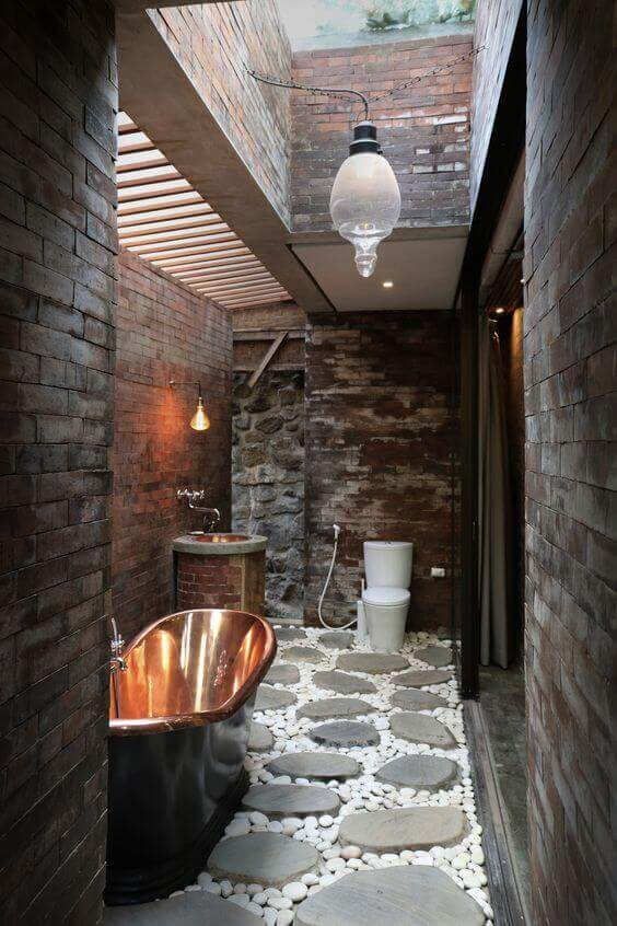 Outdoor Shower Ideas Rustic Bathroom with Stone Flooring - Harptimes.com