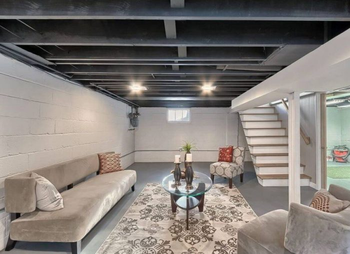 Walkout Basement Wall Ideas Exposed Ceiling