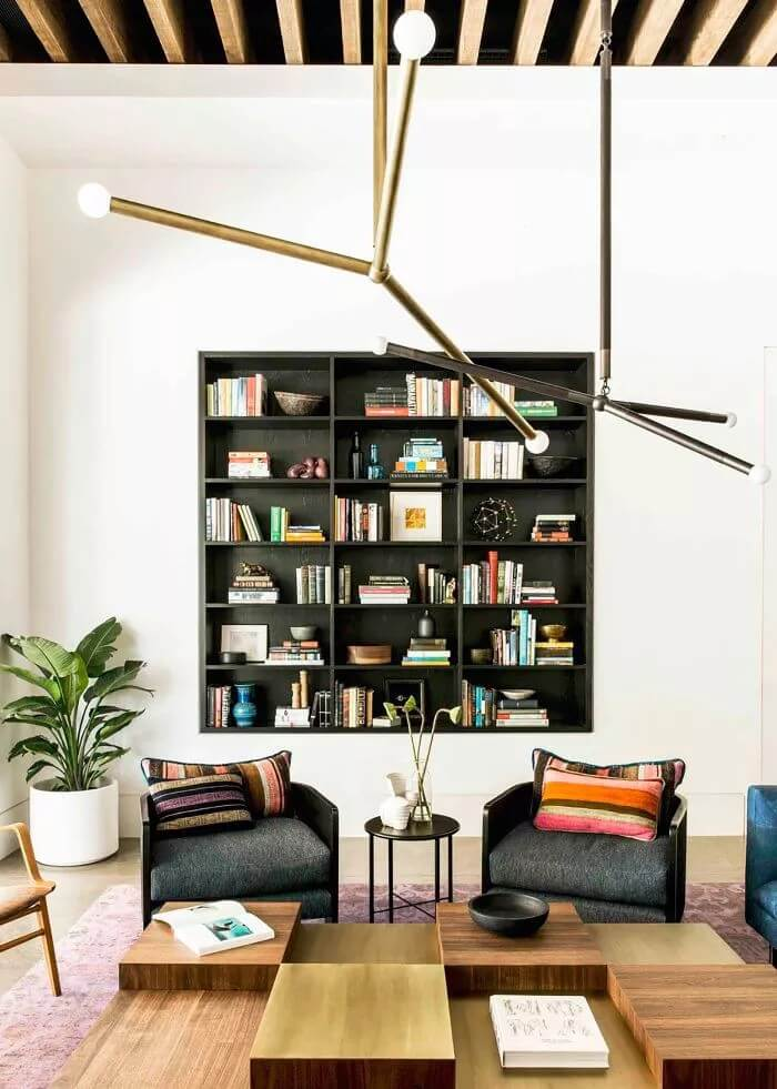 Built-in Bookcase in Modern Living Room Decor Ideas