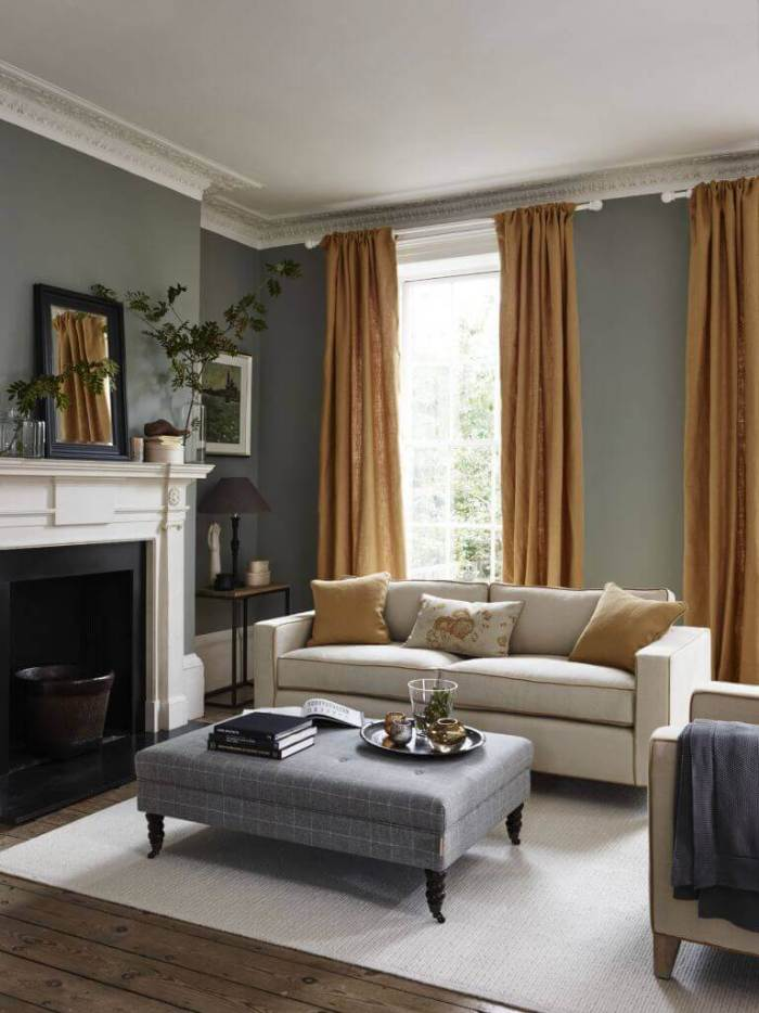 Golden Rod Curtain in Gray Living Room Ideas - Harptimes.com