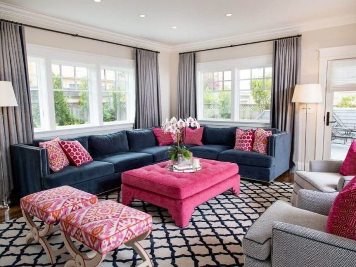 Pink Decor and Large Classic Furniture Living Room