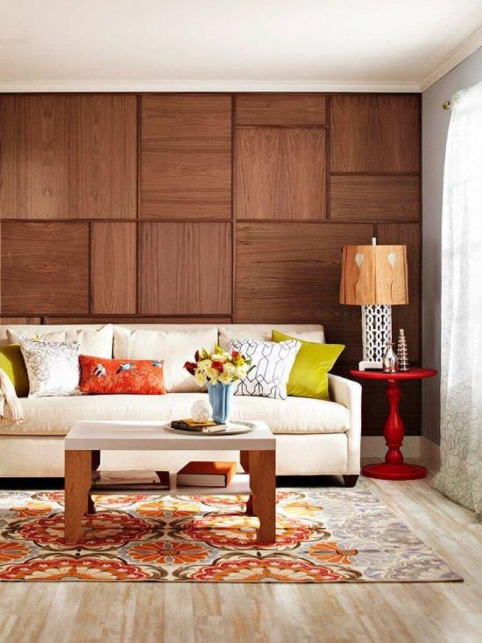 Wood Grain Veneer Accent Wall Ideas